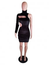 High Neck Cut Out One Sleeve Bodycon Dress