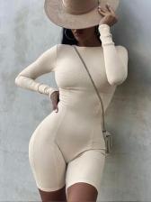 Solid Color Long Sleeve Yoga Bodycon Romper