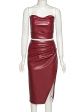 Faux Leather Solid Strapless Split 2 Piece Skirt Set