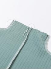Contrast Seam High Neck Irregular Long Sleeve T Shirt