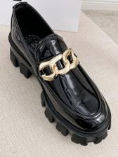 Stylish Patent Leather Round Toe Womens Flats