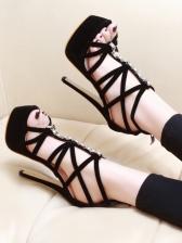 Euro Rhinestone Peep-Toe Black Platform Sandals
