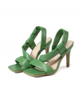 Square Toe Solid High Heel Ladies Sandals