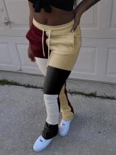 Casual Drawstring Color Block Pants For Women
