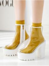 Clear Chunky Heel High Platform Boots Online