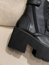 Chic Solid High Platform Women Combat Boots