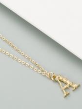 Simple Fashion Rhinestone Letter Necklace
