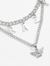 Street Solid Letter Cherub Pendant Necklace