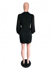 Gauze Sleeve Black Long Sleeve Short Dresses
