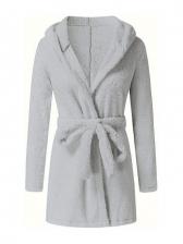 Solid Flannel Winter Thicker Short Bathrobe