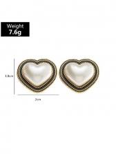 Simple Heart Shape Vintage Faux-Pearl Earrings