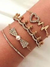 Full Rhinestone Crown Heart Four Pieces Bracelet Set