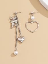 Create Irregular Heart Asymmetric Tassel Earrings
