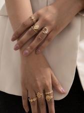 Elegant Vintage Street Fashion Irregular Rings Set