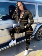 Casual Letter Print Womens Tracksuits