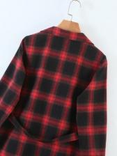 New Red Plaid Long Sleeve Shirt Dress