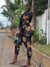 Deep V Neck Print Jumpsuit Women