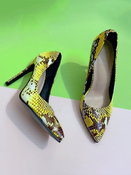 Snakeskin Printed Pointed Toe Heels For Women