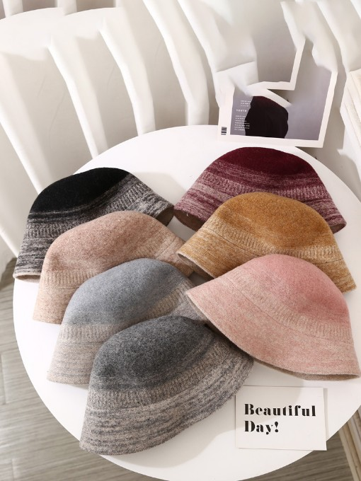 Pure Wool Contrast Color Lovers Bucket Hat
