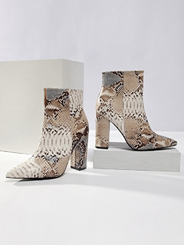 Snakeskin Printed Pointed Toe Chunky Heel Womens Boots