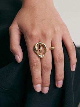 Street Vintage Geometry Copper Ring