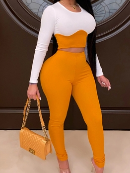 Crew Neck Contrast Color Long Sleeve Ladies Tracksuits