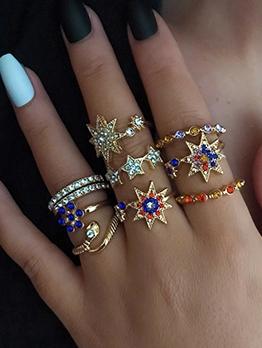 Latest Style Colourful Rhinestone Rings Set