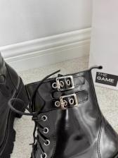Chunky Heel Black Platform Ladies Combat Boots