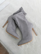 Pointed Toe Suede High Heel Ankle Boots