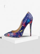 Trendy Printed Toe Slip On Stiletto Heels