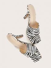 Versatile Square Toe Heeled Womens Slippers