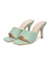 Fashion Square Toe High Heel Female Slippers