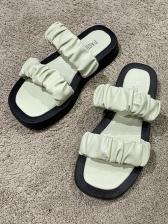 Versatile Round Toe Slip On Slippers