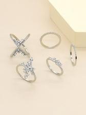 Party Dress Up Rhinestone Geometry Ring Set