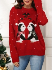 Casual Penguin Loose Christmas Sweater