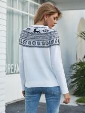 Christmas Snowflake Deer Crew Neck Sweater