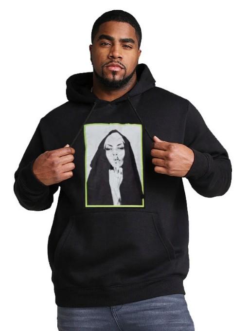 Pockets Black Oversize Hoodie For Men Printing