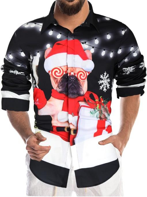 Funny Christmas Print Mens Shirt Casual