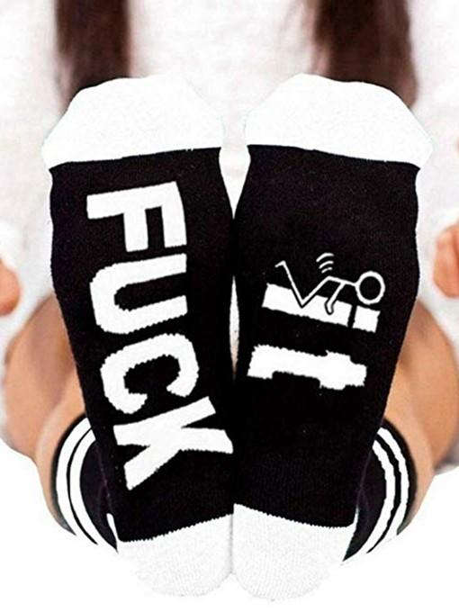 Pure Cotton Letter Unisex Mid-Calf Length Socks