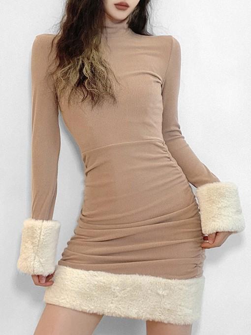 Winter Patchwork Long Sleeve Bodycon Dress