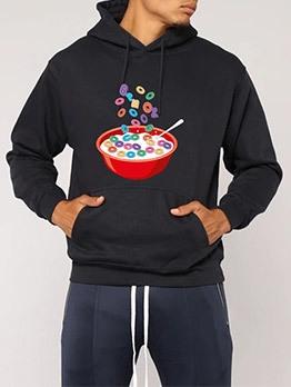 Simple Printing Pullover Hoodie For Men
