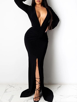 Deep V Neck Split Hem Solid Long Evening Dress