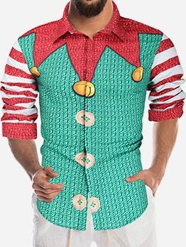 Cartoon Clown Print Green Shirt For Men Casual