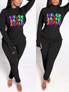 Colorful Letter High Neck 2 Piece Pants Set