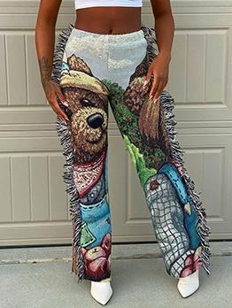 Side Tassel Cartoon Print Pants For Women
