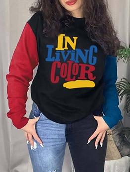 Fashion Color Block Letter T Shirts For Women