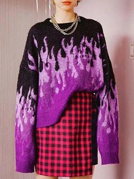 Flame Print Loose Oversize Sweater Crew Neck