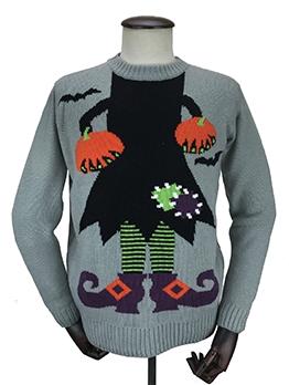 Halloween Pumpkin Witch Knit Sweater
