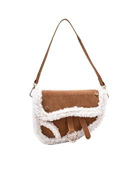 New Plush Patchwork Saddle Bag