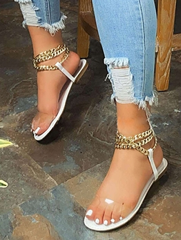 Stylish Round Toe Chain Strap Summer Sandals
